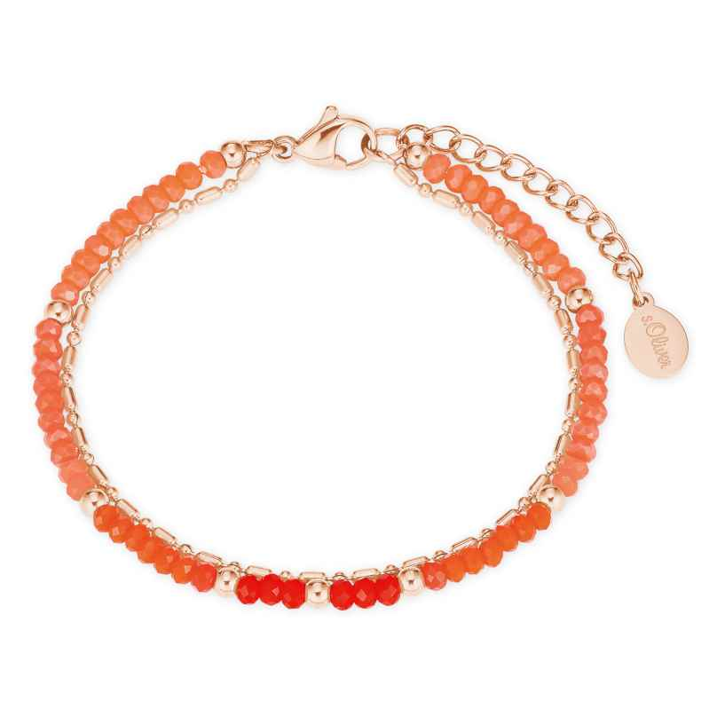 s.Oliver 2027601 Damen-Armband Armkettchen roségold IP Edelstahl Glasperlen 4056867020916