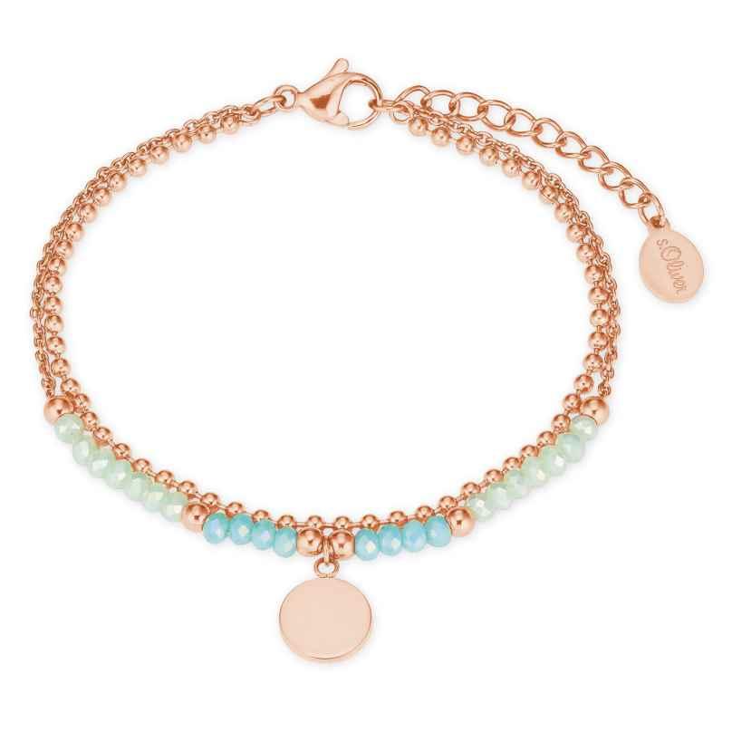 s.Oliver 2027602 Damen-Armband Armkette Edelstahl Glasperlen roségold / türkis 4056867020923