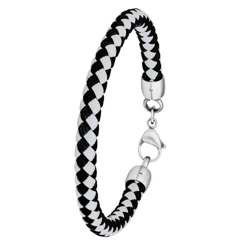 s.Oliver 2028401 Men's Leather Bracelet Grey / Black 4056867023283