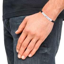 s.Oliver 2031551 Herren-Armband Leder Schwarz