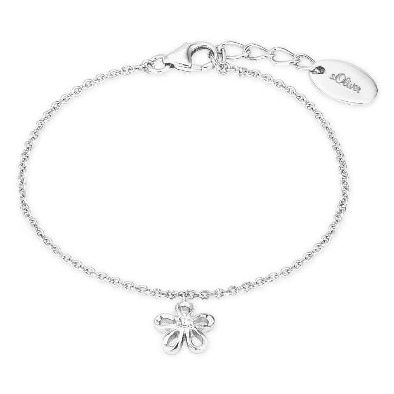 s.Oliver 2027456 Kinder-Armband für Mädchen Blume Silber 4056867020343