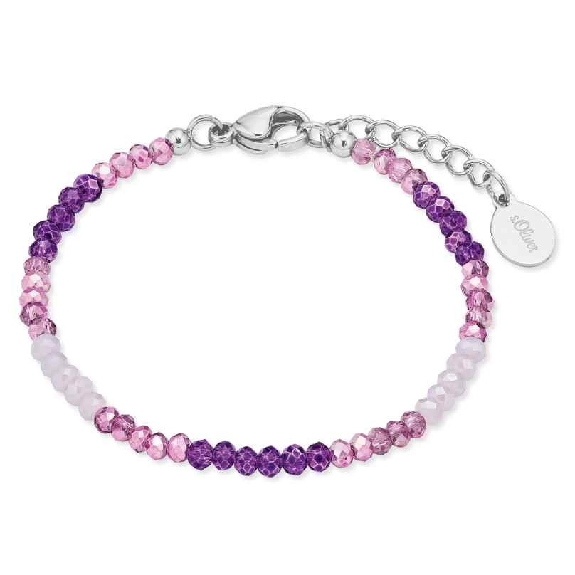 s.Oliver 2028453 Kinder-Armband Armkettchen mit Glasperlen Violett 4056867023535