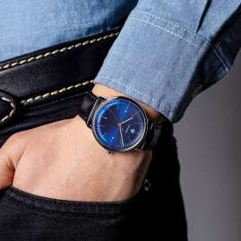 Junkers 9.08.01.01 Men's Watch 100 Years Bauhaus Leather Strap Black / Blue