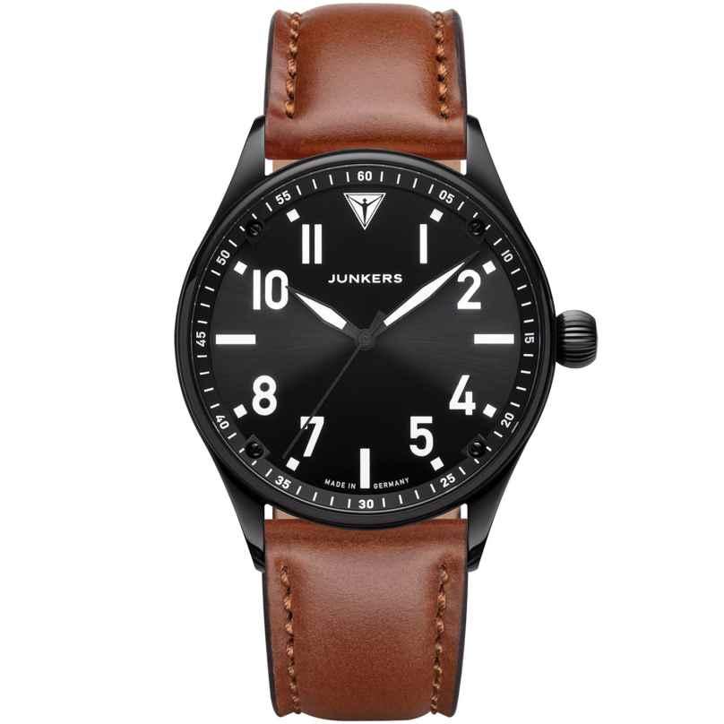 Junkers 9.03.01.02 Herren-Armbanduhr mit Lederband Flieger Schwarz / Braun 4250948691440
