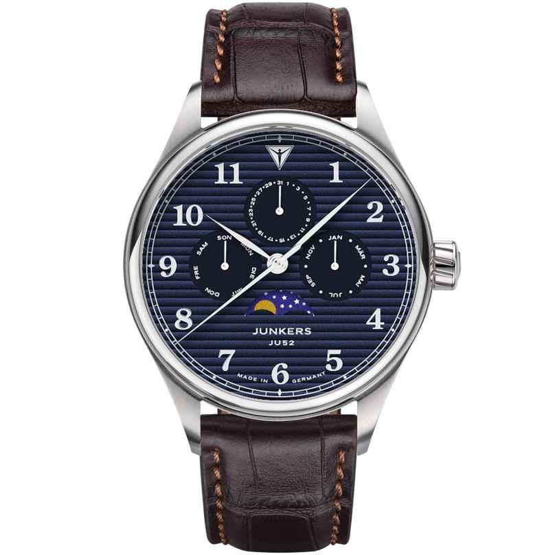 Junkers 9.33.01.01 Herrenuhr mit Mondphase Tante JU Lederband Braun / Blau 4250948691822
