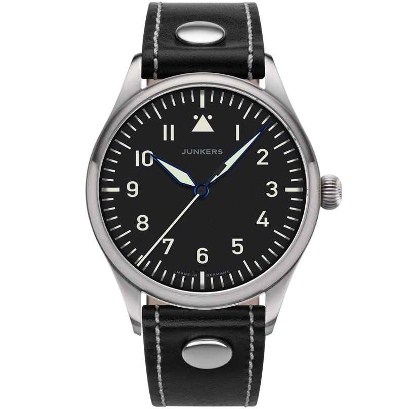 Junkers 9.20.01.02 Men's Wristwatch Baumuster A Black Leather Strap 4250948690696