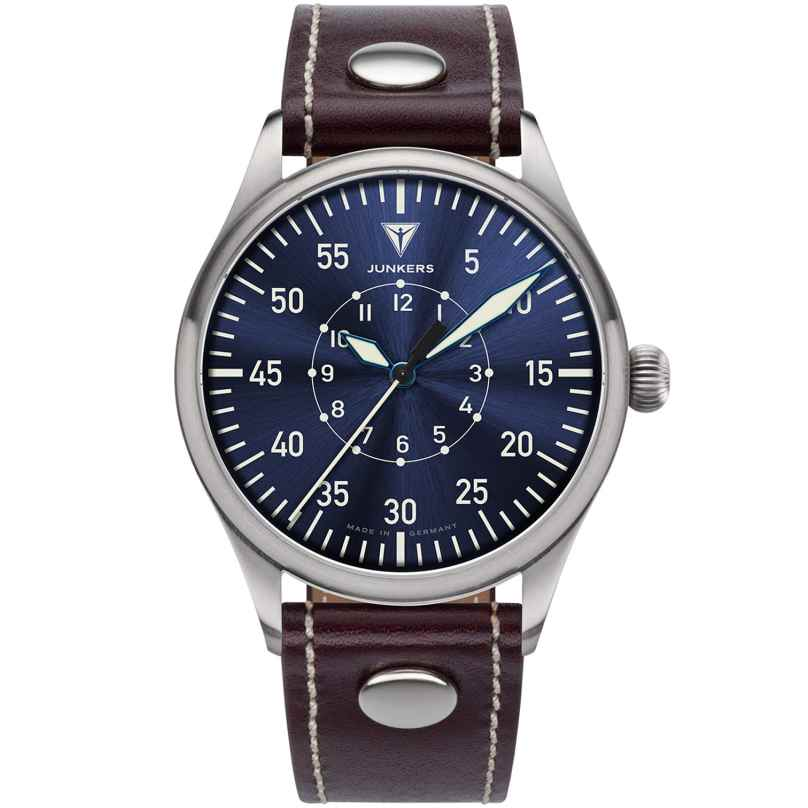 Junkers 9.20.02.01 Herrenuhr Baumuster B Lederband Braun / Blau 4250948690771