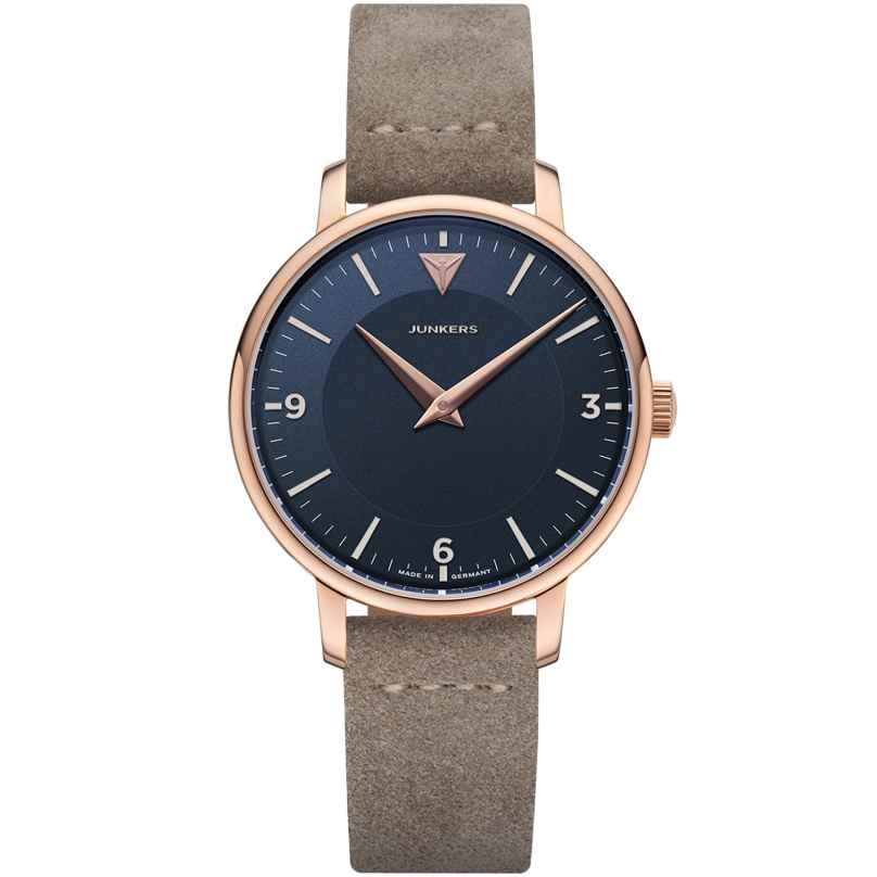 Junkers 9.25.01.01 Women's Watch Quartz Therese Leather Strap Taupe / Blue 4250948692041