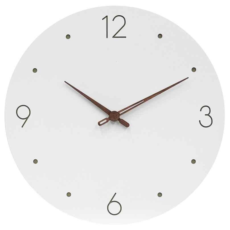 trendor 75857 Wall Clock Round White Ø 29 cm Brown Wooden Hands 4260641758579