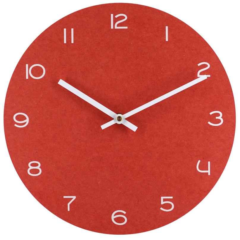 trendor 75864 Quarz Wanduhr rot mit weißen Zahlen Ø 29 cm ohne Ticken 4260641758647