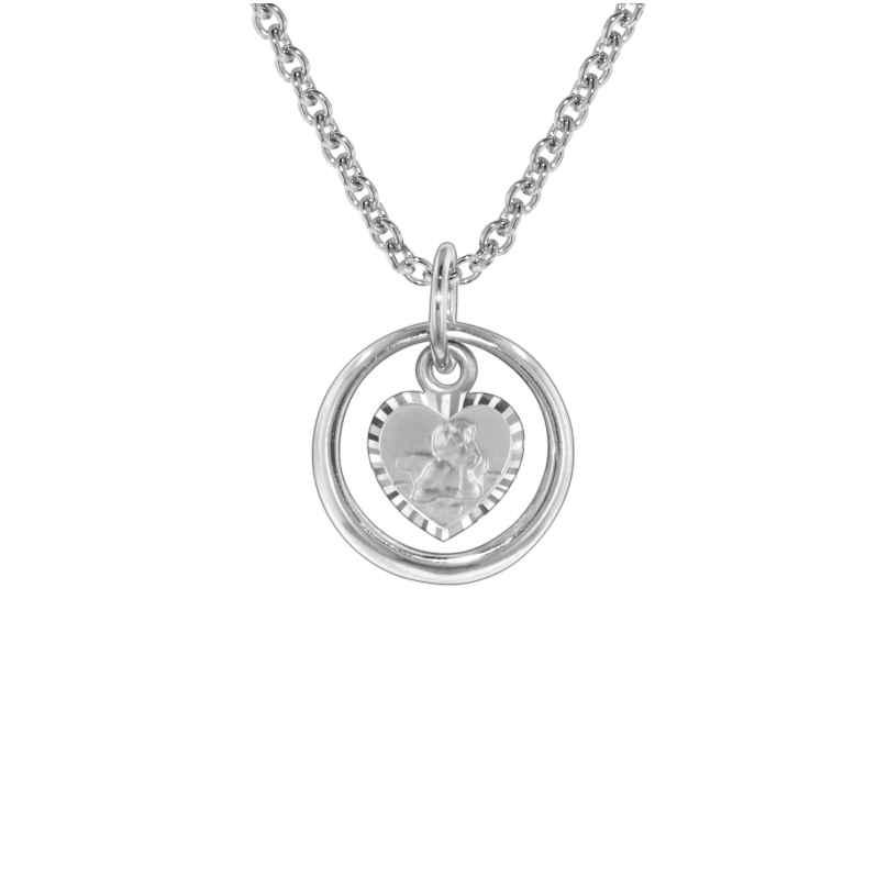 trendor 73242 Silber Halskette Taufring mit Schutzengel 4260333973242