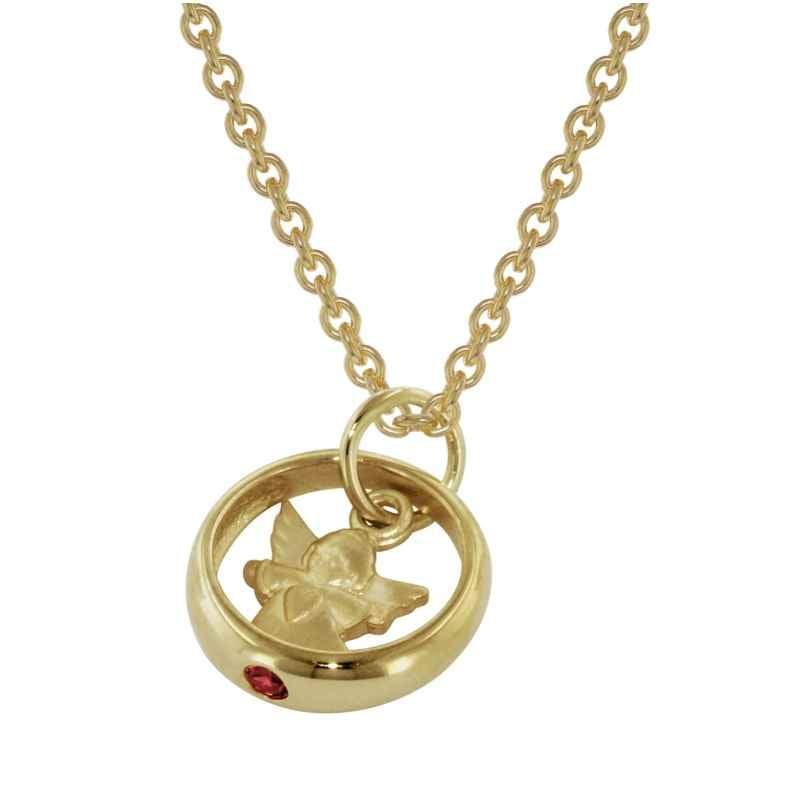 trendor 73464 Gold Taufring-Anhänger mit goldplattierter Halskette 4260333973464