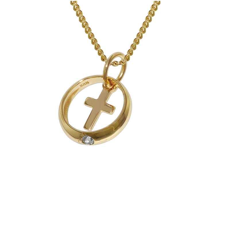 trendor 78278 Taufring mit Kreuz Gold 333 an 42 cm goldplattierter Halskette 4260333978278