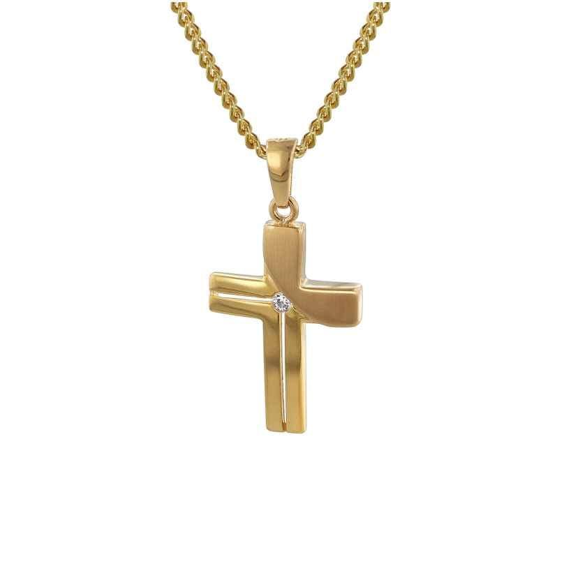 trendor 35728 Kreuz-Anhänger Gold 333 mit goldplattierter Kette 4260435357285