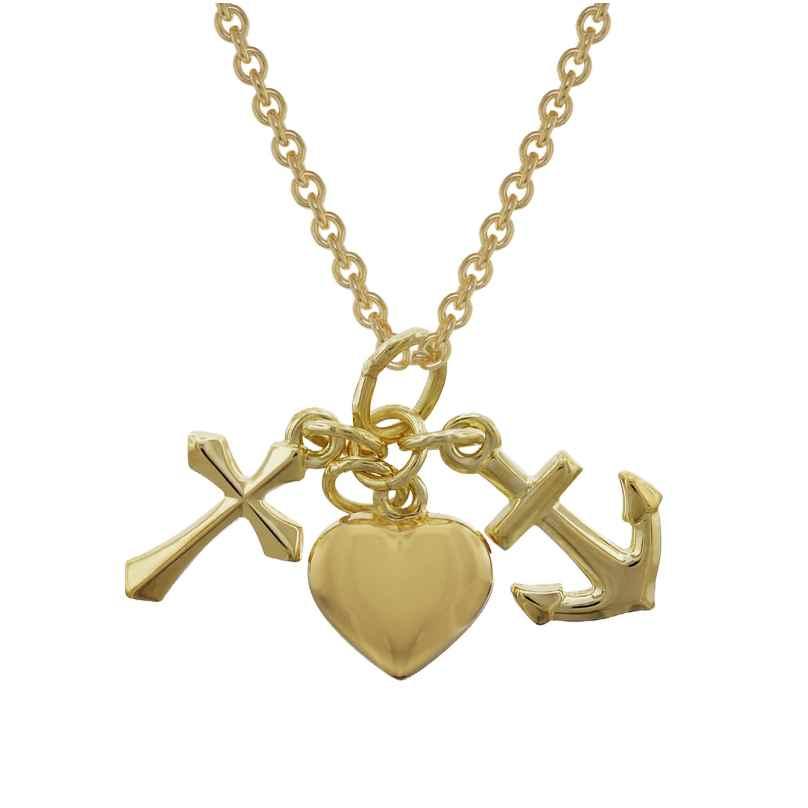 trendor 35733 Glaube, Liebe, Hoffnung Gold 333 Anhänger mit vergoldeter Kette