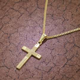 trendor 35751 Gold 8K Cross Pendant on 40 cm Gold-Plated Necklace
