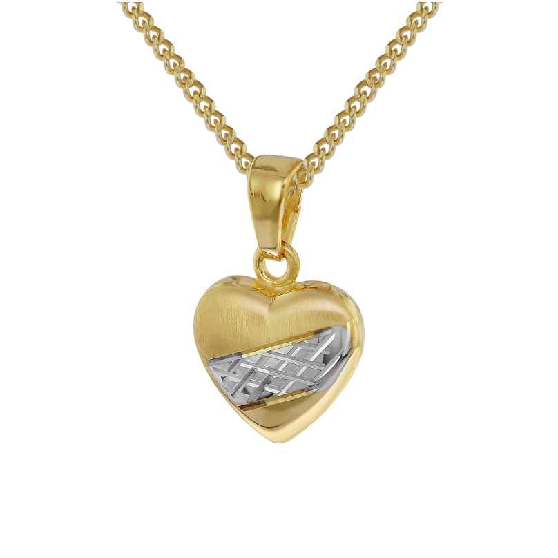 trendor 35762 Heart Pendant Gold 8K Two-Colour 4260435357629