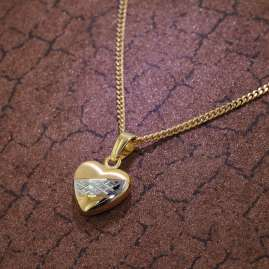 trendor 35762 Heart Pendant Gold 8K Two-Colour