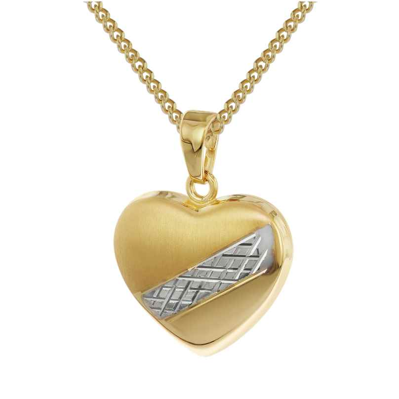 trendor 35763 Heart Pendant Gold 8K Two-Colour 4260435357636