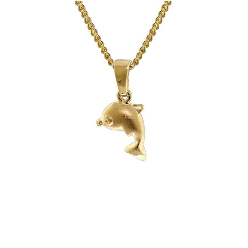trendor 35768 Gold 333 Delfin-Anhänger mit 40 cm goldplattierter Halskette 4260435357681