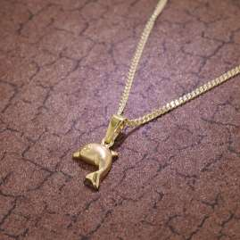 trendor 35768 Gold 8K Dolphin Pendant on 40 cm Gold-Plated Necklace