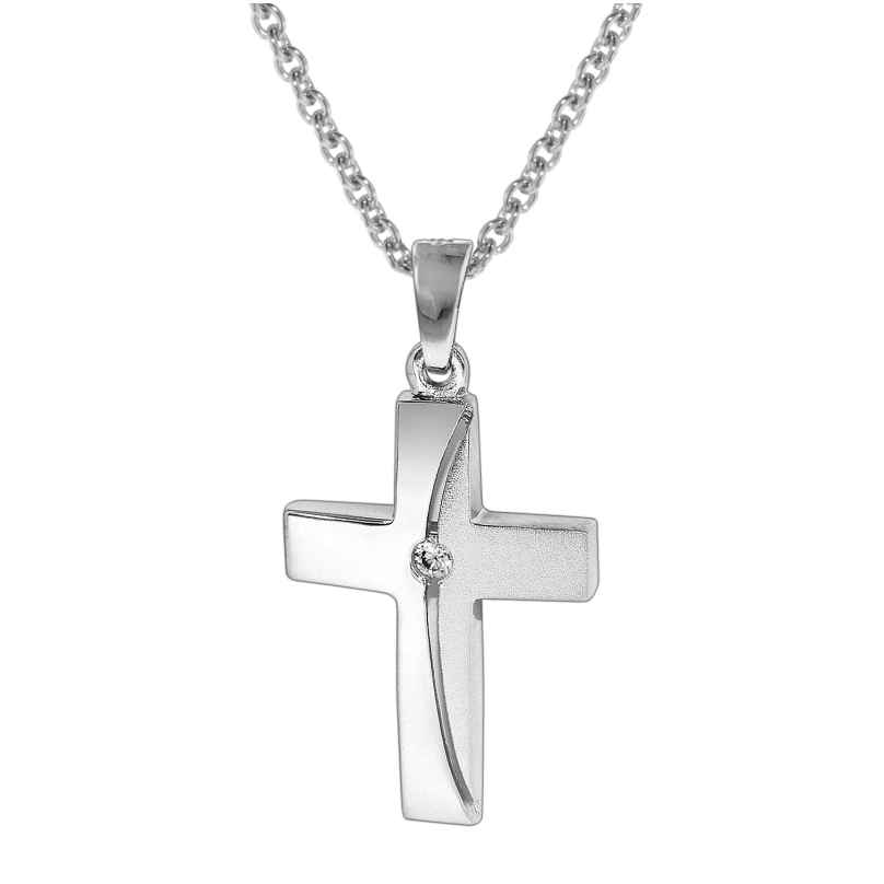 trendor 35864 Damen-Halskette mit Kreuz-Anhänger 925 Silber 4260435358640