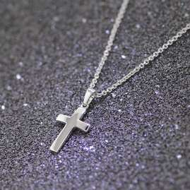 trendor 35868 Silver Necklace with Cross Pendant for Kids