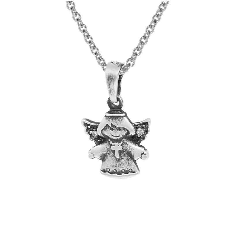 trendor 35870 Kids Silver Angel Pendant with Chain 4260435358701