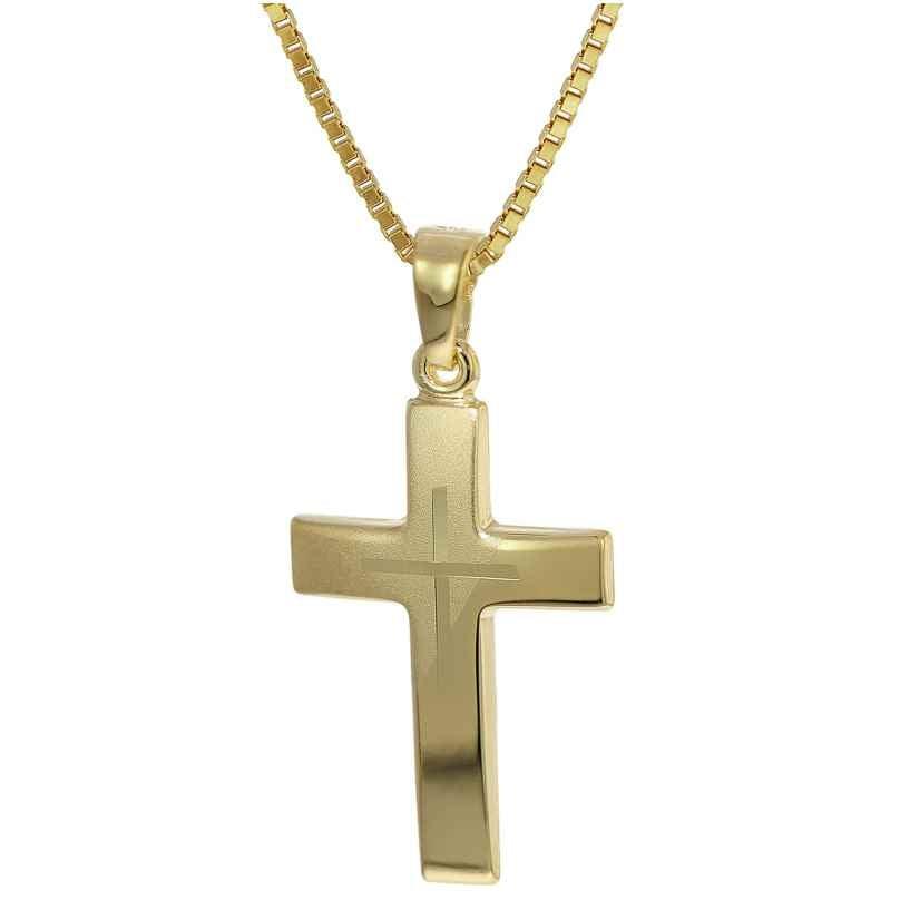 trendor 35790 Kreuz-Anhänger Gold 333 + goldplattierte Silber-Halskette