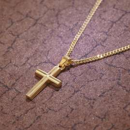 trendor 35792 Gold 8K Cross Pendant for Kids
