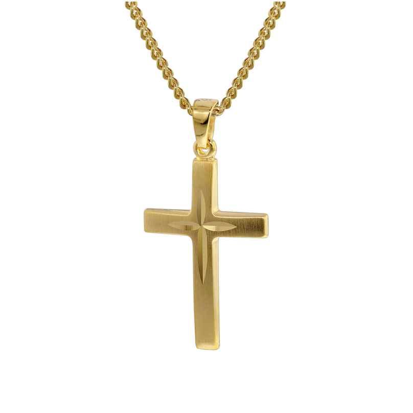 trendor 35797 Gold Kreuz 333 mit 42 cm goldplattierter Halskette 4260435357971