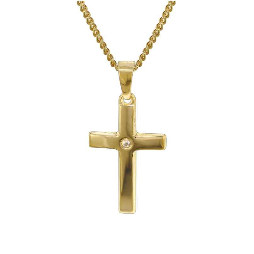trendor 35799 Gold Kreuz 585 mit 40 cm goldplattierter Kette 4260435357995