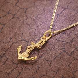trendor 35801 Gold Pendant Anchor on 42 cm Gold-Plated Necklace
