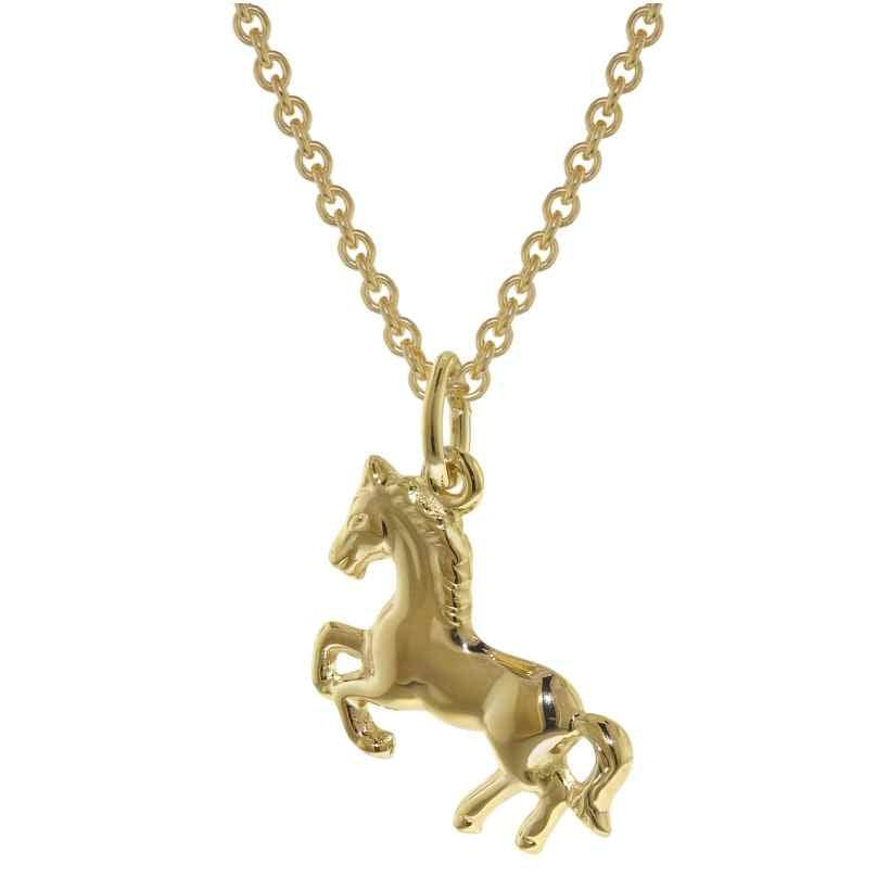 trendor 35808 Pferd Anhänger Gold 333 mit plattierter Kette für Mädchen 4260435358084