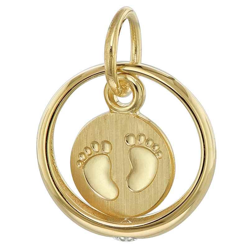 trendor 08276 Taufring Anhänger mit Baby-Fußabdruck 333 Gold (8 Karat) 4260497082767