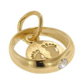 trendor 08276 Taufring Anhänger mit Baby-Fußabdruck 333 Gold (8 Karat)