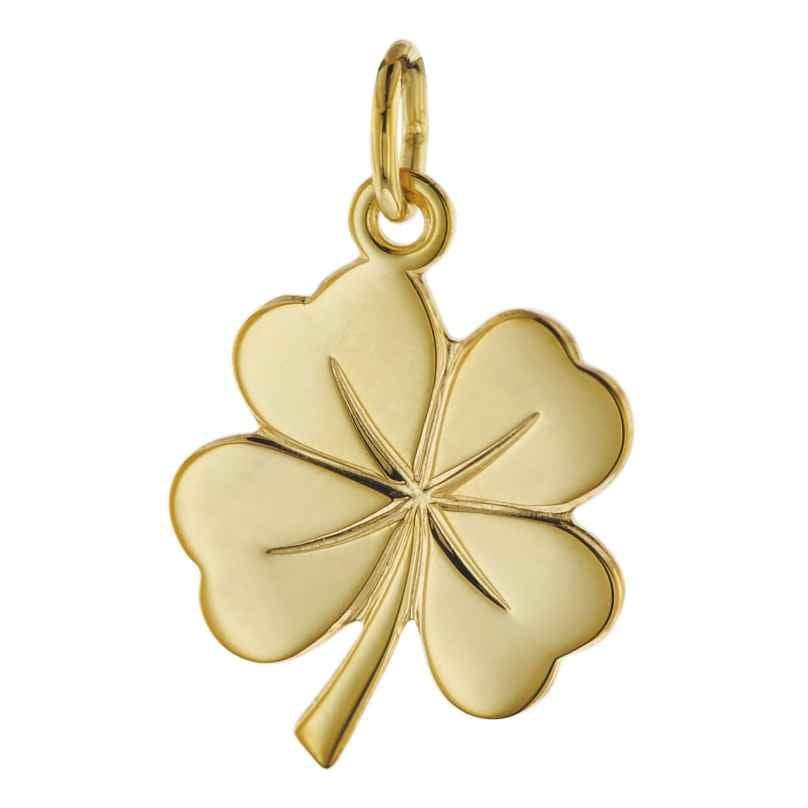 trendor 08608 Glücksanhänger Kleeblatt 585 Gold 18 mm 4260497086086