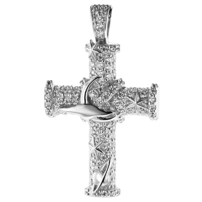 trendor 08837 Kreuz Anhänger Weißgold 585 Zirkonia 4260497088370