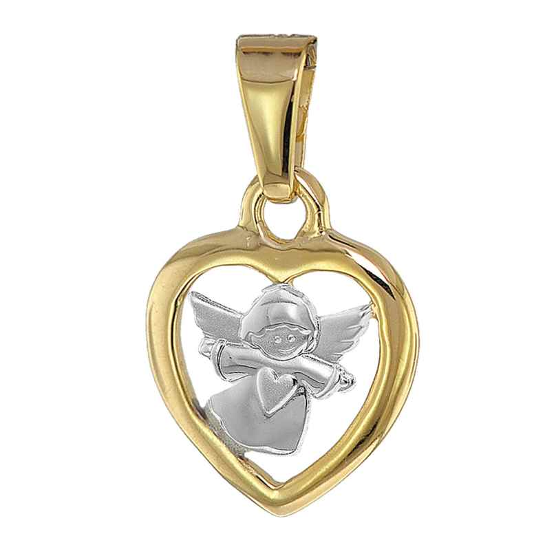 trendor 08855 Heart Pendant with Angel Gold 585 Two-Tone 4260497088554