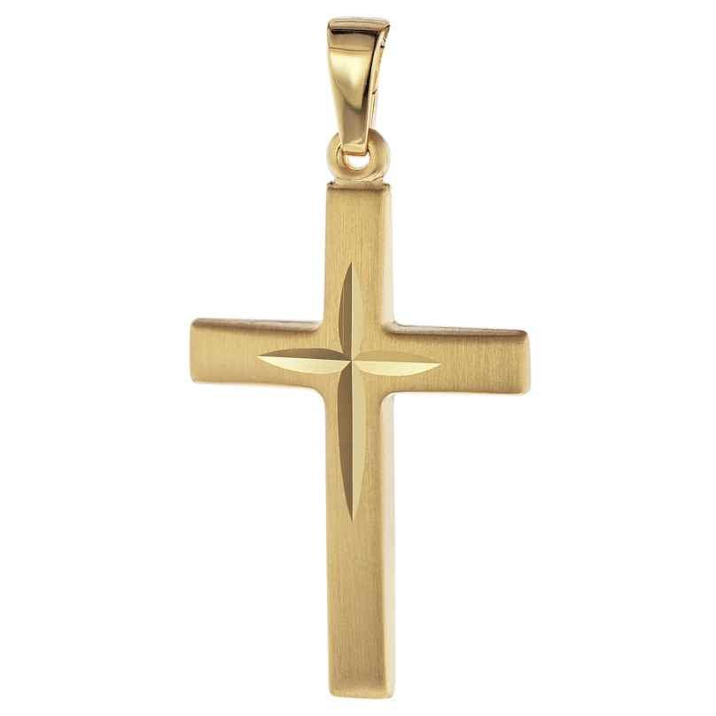 trendor 75087 Kreuz-Anhänger 585 Gold/14 Karat 31 x 16 mm 4260641750870