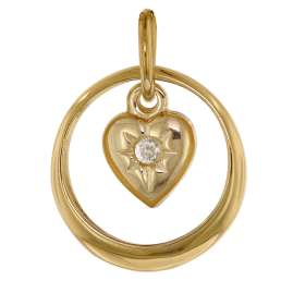 trendor 75257 Christening Ring with Heart Pendant Gold 585 (14 Carat)