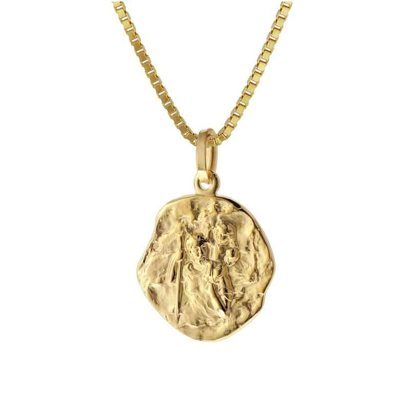 trendor 75318 Christophorus Anhänger Gold 333/8 Kt. mit Goldplattierter Kette