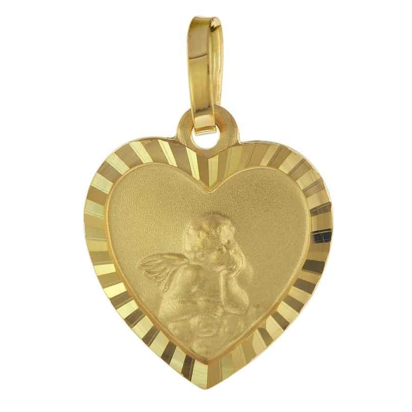 trendor 75537 Ketten-Anhänger für Kinder Herz mit Engel Gold 585 / 14K 4260641755370