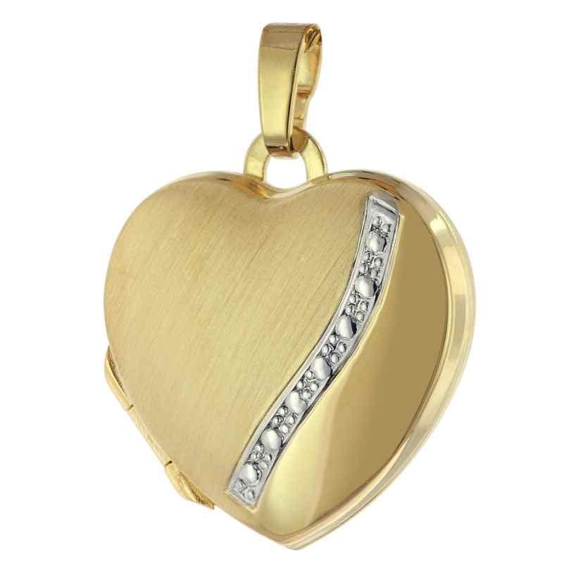 trendor 75780 Locket Heart Pendant Two-Colour 333 Gold 8 Carat 4260641757800