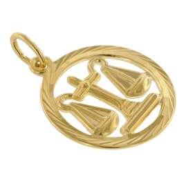 trendor 39000-10 Zodiac Sign Libra 333 Gold Pendant Ø 16 mm