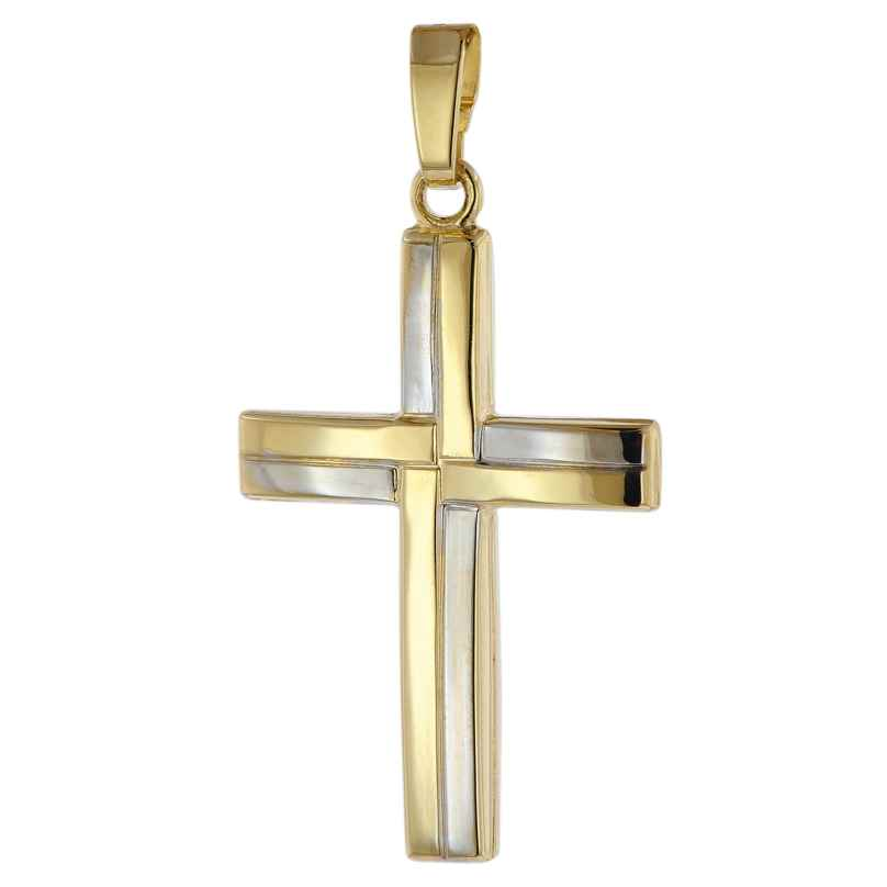 trendor 39663 Kreuz Anhänger 333 Gold (8 Karat) Bicolor 24 mm 4260684396639