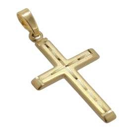 trendor 51369 Kreuz-Anhänger Gold 585 / 14K Kreuz für Damen/Herren/Kinder