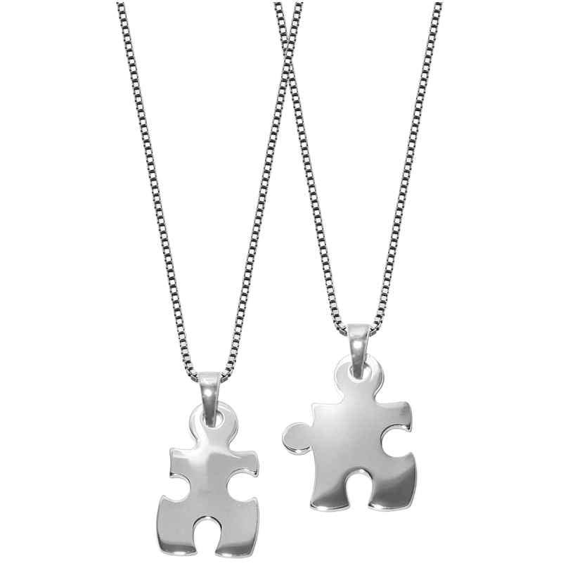 trendor 63775 Puzzle Partner-Anhänger mit 2 Halsketten Silber 925 4260227763775