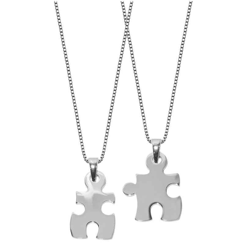 trendor 63782 Large Puzzle Partner Pendants with 2 Chains Silver 4260227763782