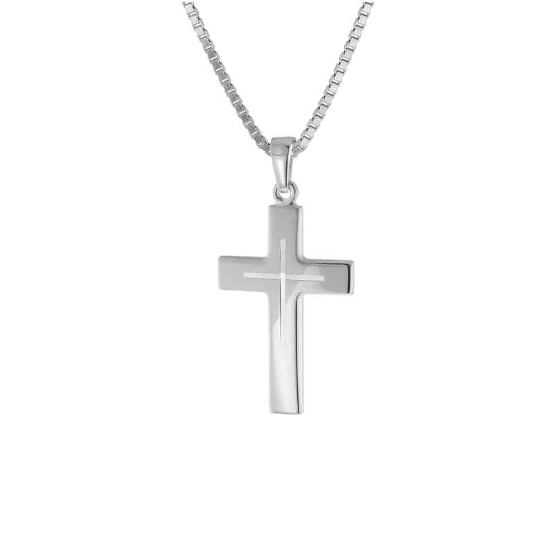 trendor 83624 Silber-Herrenkette mit Kreuz 4260266583624